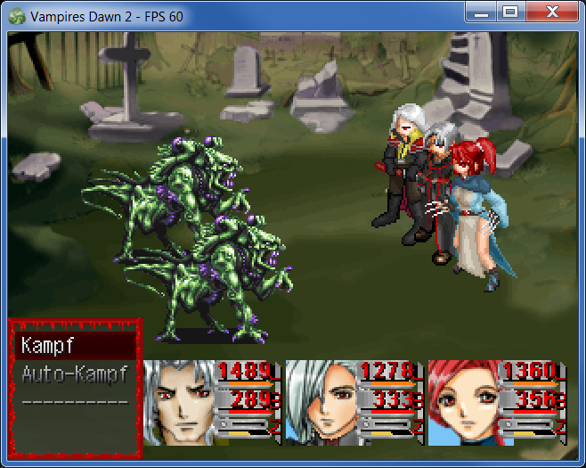 Gauge battle style and actors are displayed as battle animations